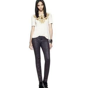 Tory Burch Honour Print Black Skinny Jeans Size 30